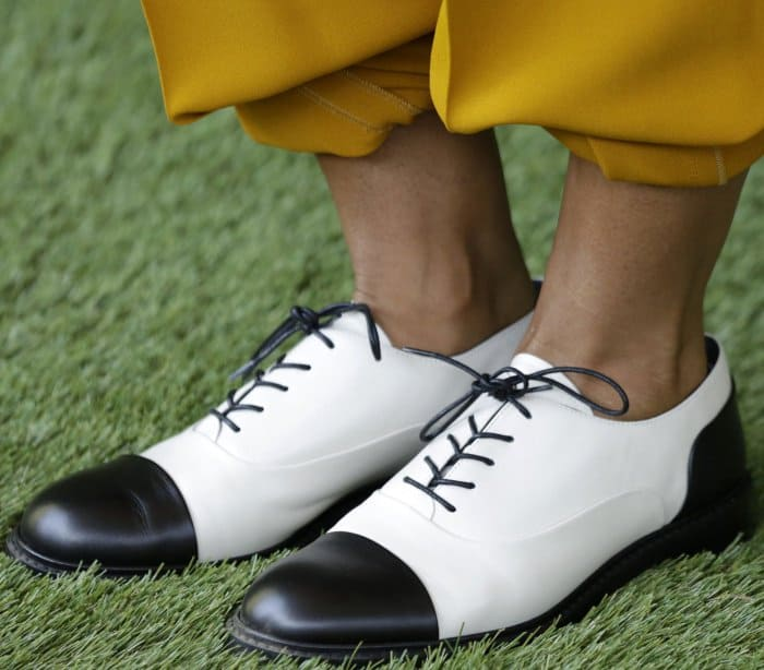 "Tracee Ellis Ross wearing Stuart Weitzman ""Marlon"" loafers at the 8th Annual Veuve Clicquot Polo Classic"