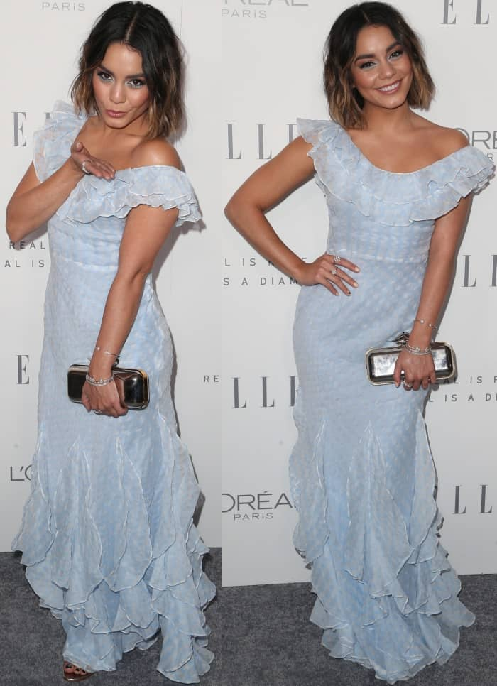 "Vanessa Hudgens wearing a light blue Bora Aksu gown and Manolo Blahnik ""Chaos"" sandals at Elle's 24th Annual Women in Hollywood Celebration"