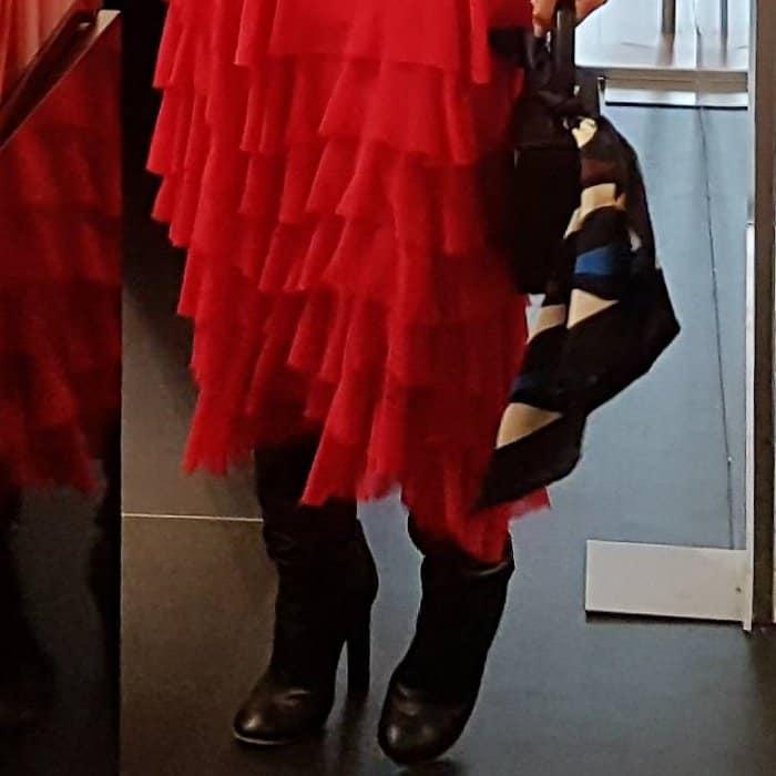 Victoria Beckham wearing Victoria Beckham black leather knee boots during an Estee Lauder event in Dublin