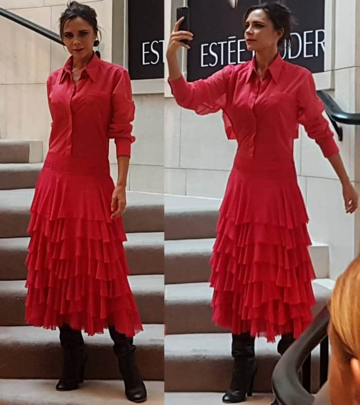 Victoria Beckham wearing a look from her own Autumn/Winter 2017 collection during an Estee Lauder event in Dublin