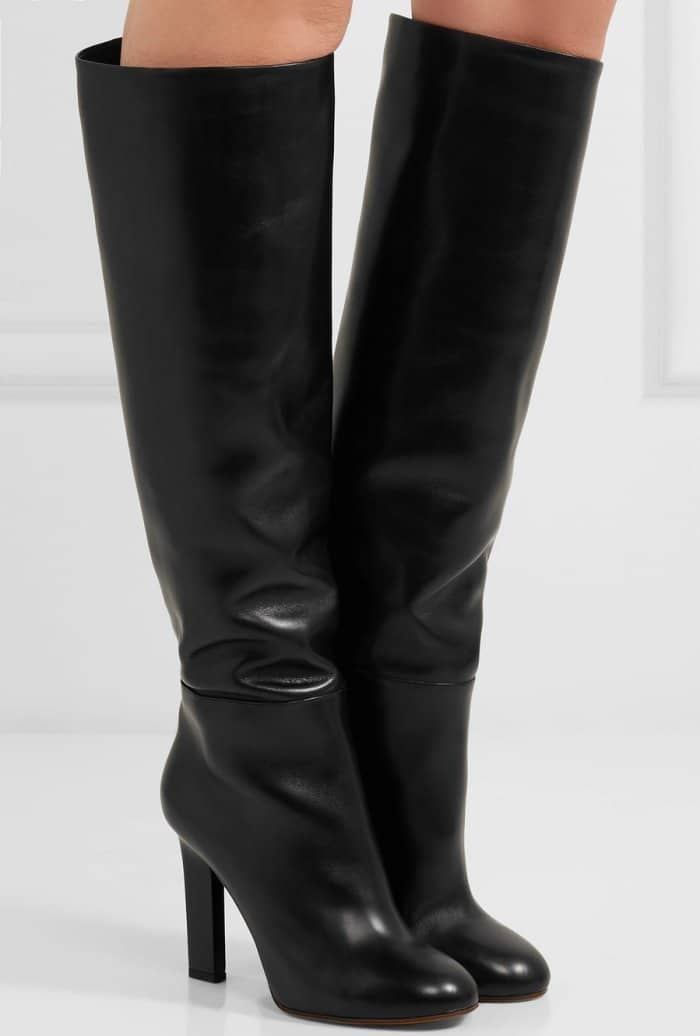 Victoria Beckham black leather knee boots