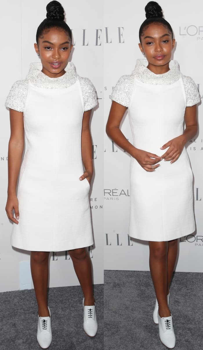 Yara Shahidi wearing head-to-toe Chanel at Elle's 24th Annual Women in Hollywood Celebration