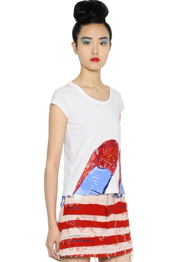 Marc Jacobs ruby shoes printed cotton jersey sneakers