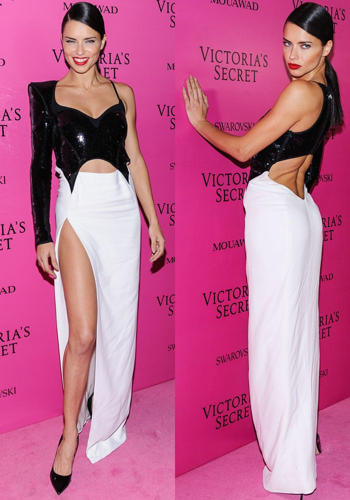 Adriana Lima changes into a black-and-white sequin Mugler dress