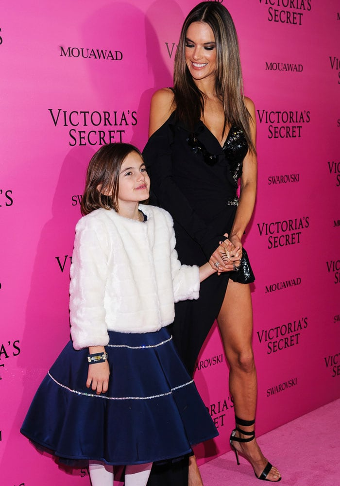 Alessandra allowed her beautiful daughter Anja to walk the pink carpet with her