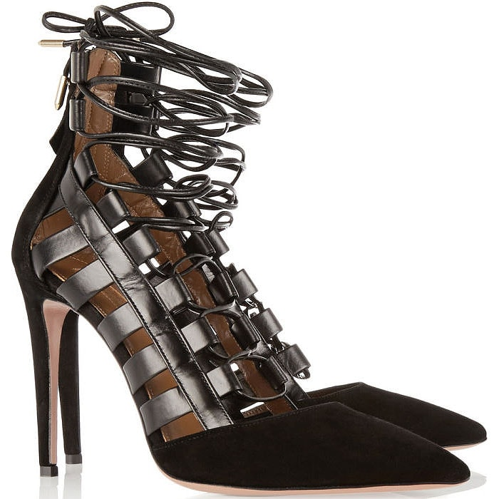 Aquazzura 'Amazon' Suede-and-Leather Lace-Up Pumps