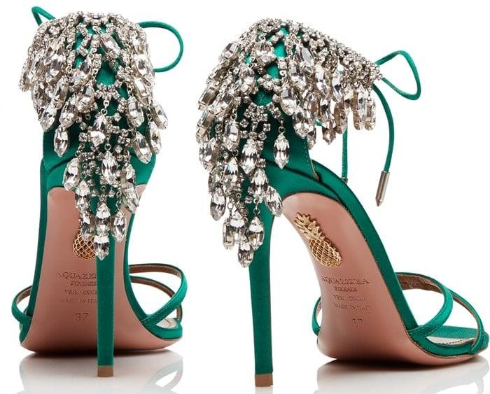 'Eden' Crystal-Embellished Ankle-Tie Sandal in Regal Emerald Green