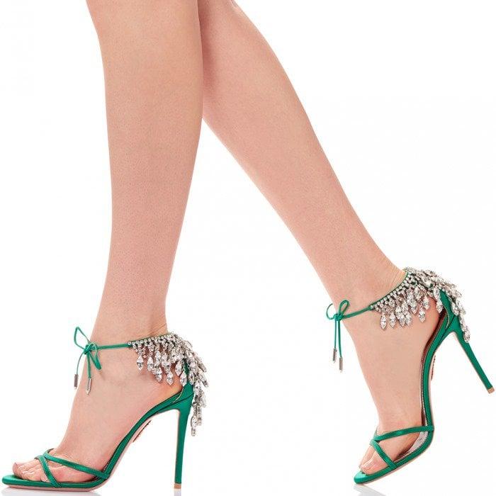 Eden' Crystal Embellished Ankle Tie Sandal in Regal Emerald