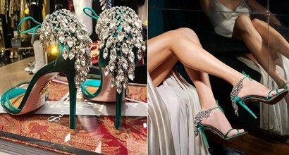 Emerald Green Regal Embellished Crystal Ankle Sandals Tie Eden 0Owy8nmvN