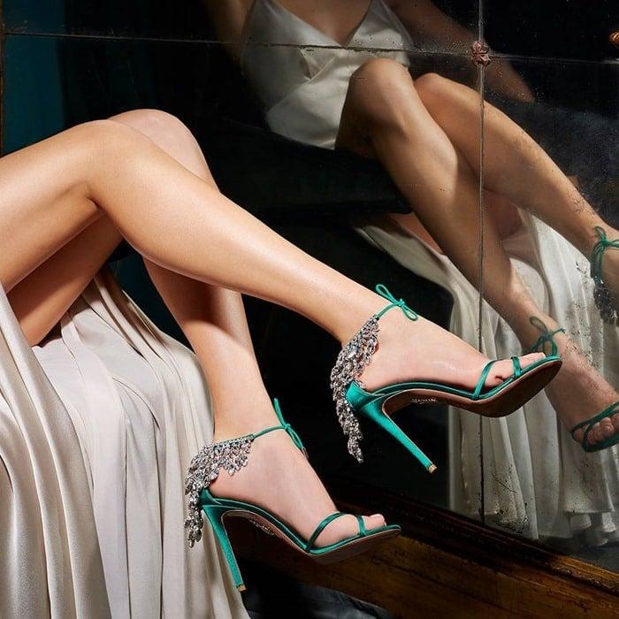 Regal Emerald Green Eden Crystal-Embellished Ankle-Tie Sandal