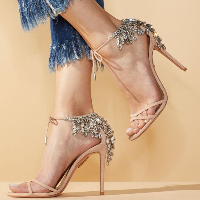 'Eden' Crystal-Embellished Ankle-Tie Sandal in Powder Pink
