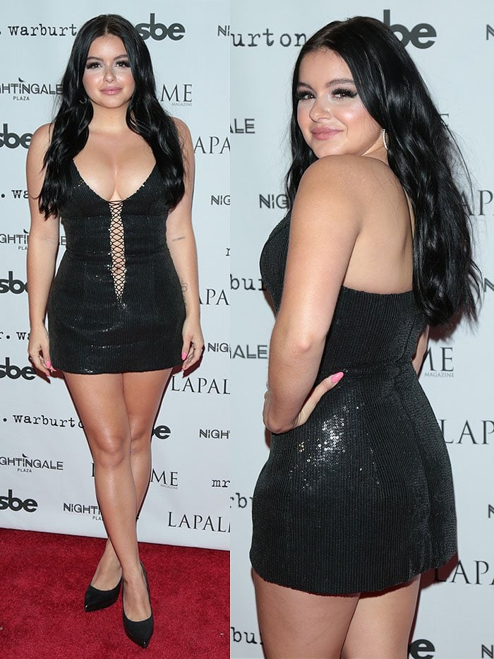 Ariel Winter made sure all eyes were on her in a black sequined mini dress that featured a very low neckline