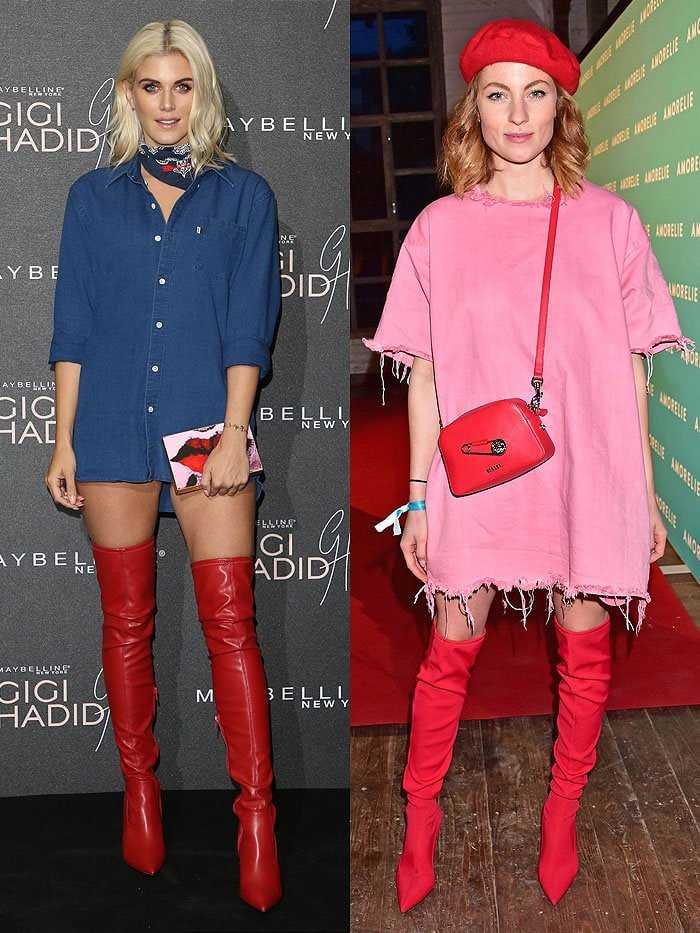 Ashley James and Lisa Banholzer in red thigh-high boots.