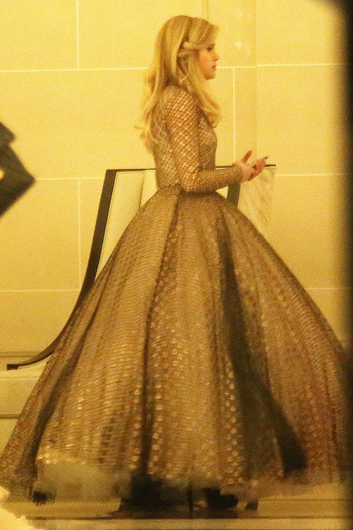 Ava Phillippe dressed in a Giambattista Valli spring 2017 couture ball gown and Christian Louboutin 'Louloudancing' heels for the le Bal des Débutantes atThe Peninsula Hotel in Paris, France, on November 25, 2017.