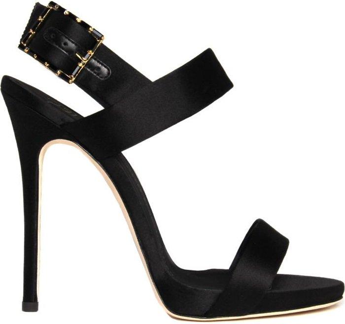 Black Satin 'Mischa' Sandal with Crystal Buckle