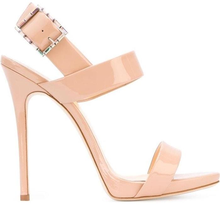 Blush Satin 'Mischa' Sandal with Crystal Buckle