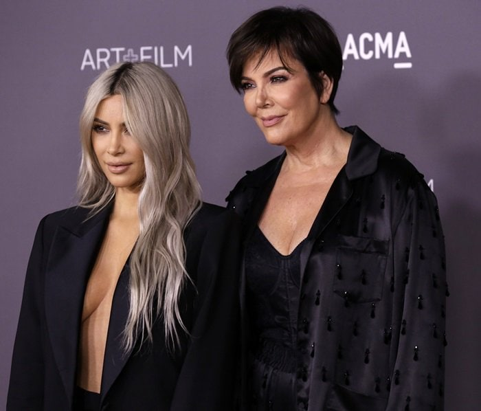 Kim posing with her momager Kris Jenner at the 2017 LACMA Art + Film Gala presented by Gucci at LACMA in Los Angeles on November 4, 2017