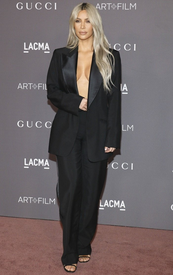 Kim Kardashian looking super sexy in a vintage Tom Ford for Gucci outfit at the 2017 LACMA Art + Film Gala presented by Gucci at LACMA in Los Angeles on November 4, 2017