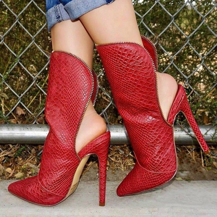 Burgundy Reptile Texture Pointy Toe Booties Faux Leather