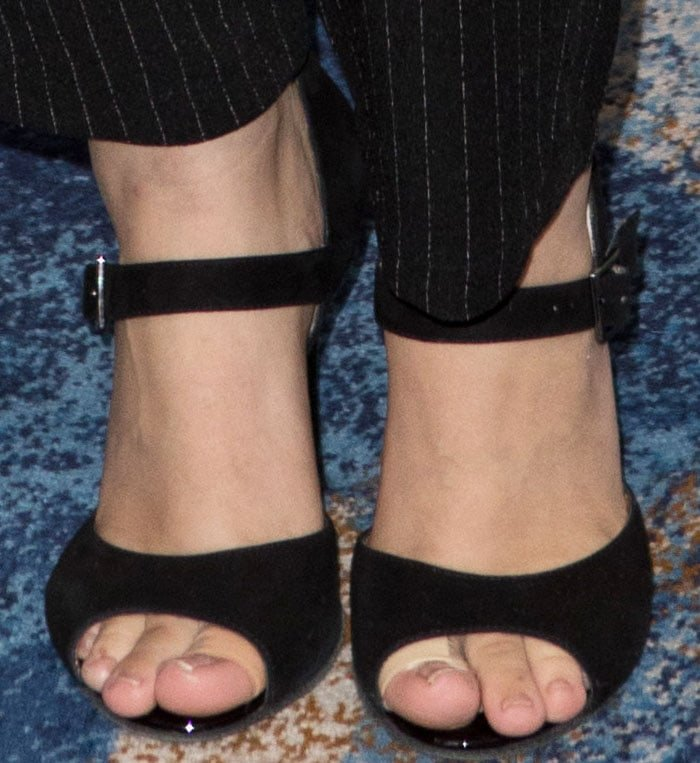 The pop star wore a pair of suede mary janes