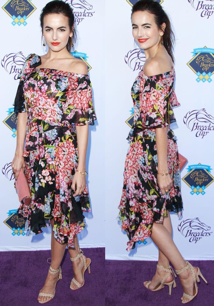 Camilla looks fresh in a Josie Natori Spring 2018 floral dress