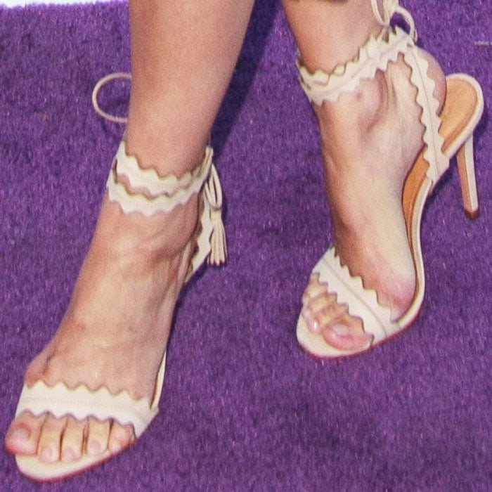 "Camilla added an interesting touch to her look with a pair of Schutz ""Lisana"" sandals"