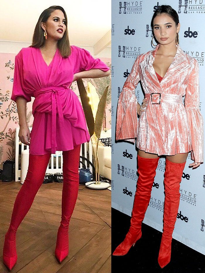 Chrissy Teigen and Pia Mia in red boots.