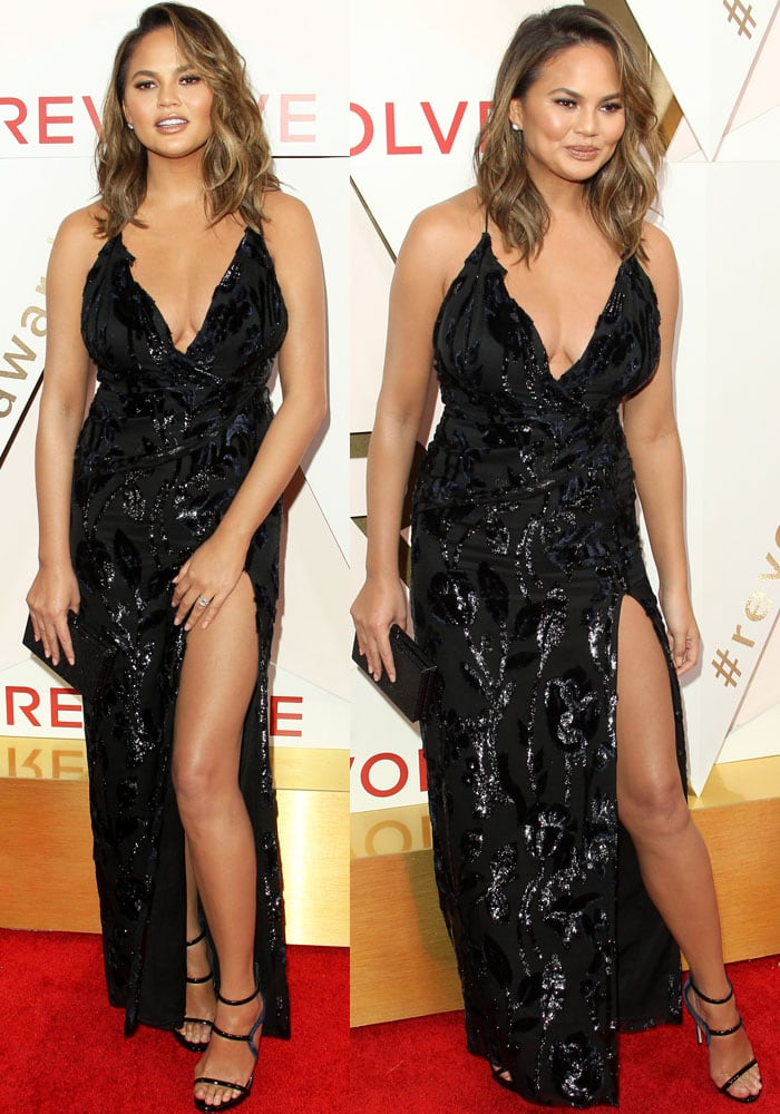 Chrissy shows off a piece from her Chrissy Teigen x Revolve collection