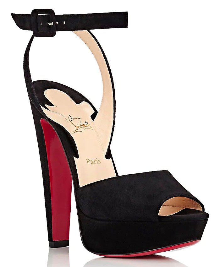 Christian Louboutin 'Louloudancing' Suede Platform Ankle-Strap Sandals