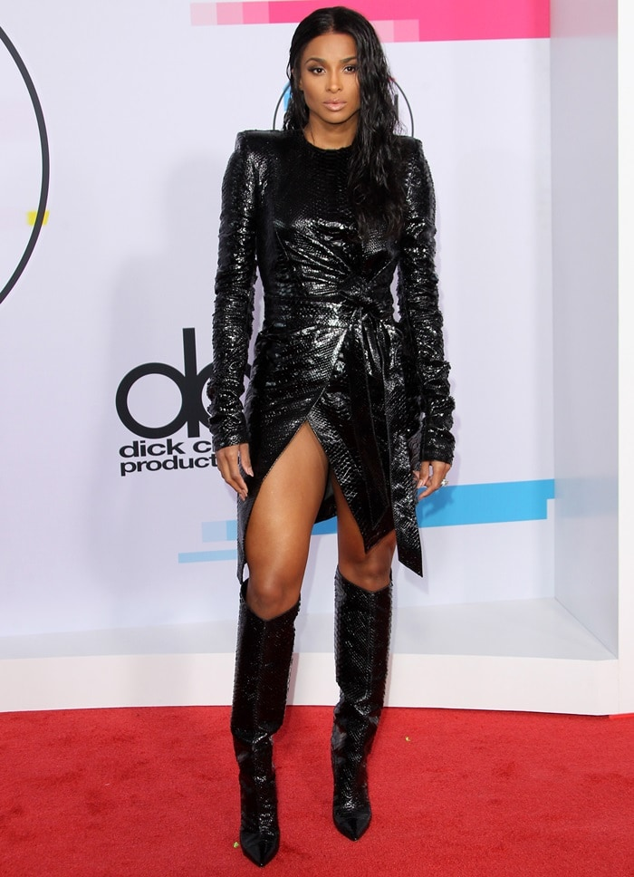 Ciara Highlights Legs In Alexandre Vauthier Dress And Knee