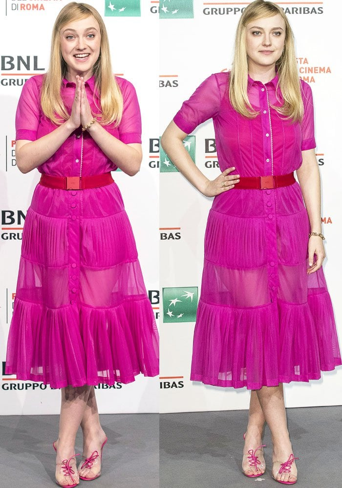 Dakota takes a page out of Elle Woods' style files in an all-pink No. 21 ensemble