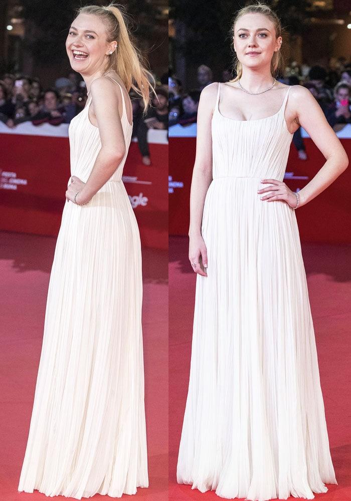 Dakota floated on the red carpet in a J. Mendel dress