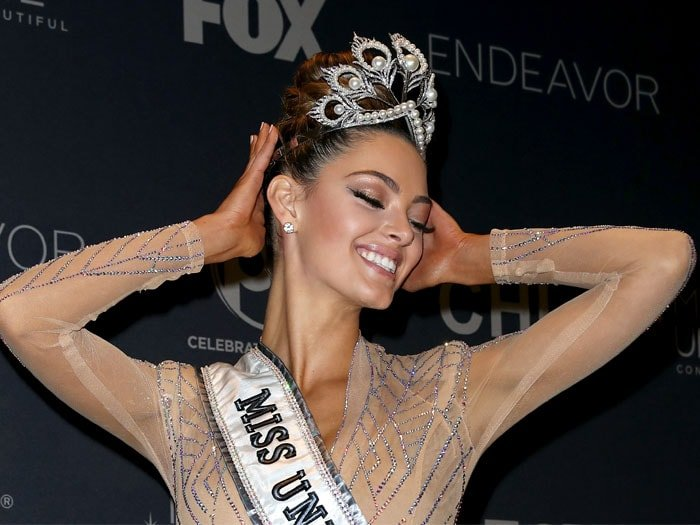 Miss South Africa and Miss Universe 2017 Demi-Leigh Nel-Peters posing in the press room after winning the 2017 Miss Universe Pageant held at The Axis at Planet Hollywood Resort & Casino in Las Vegas, Nevada, on November 26, 2017.