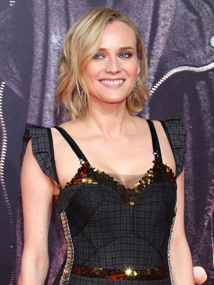Diane Kruger donned a Vera Wang Spring 2018 dress that started out with somber gray checkered fabric on the bustier bodice