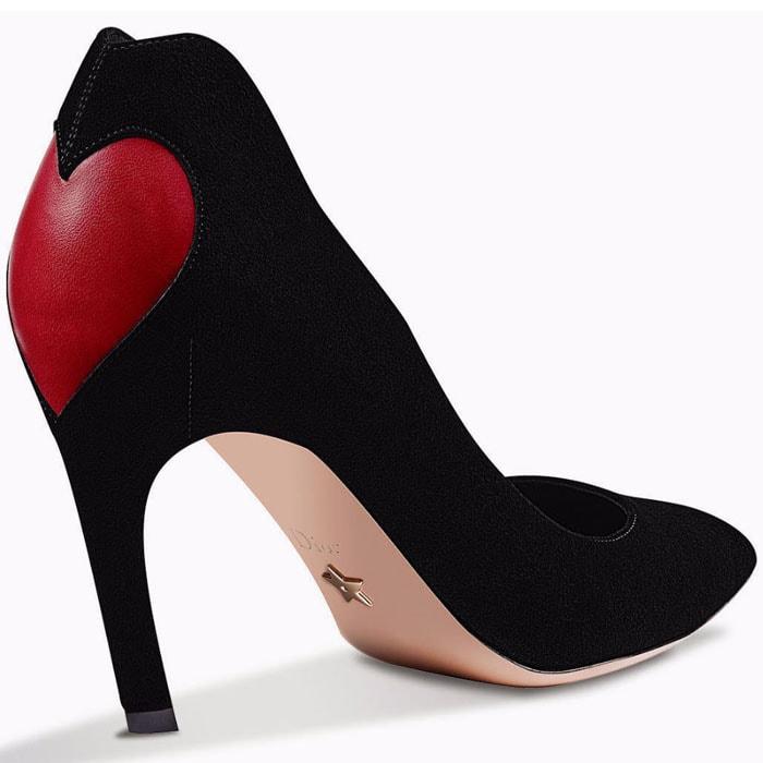 Dior heart-adorned black-suede pumps