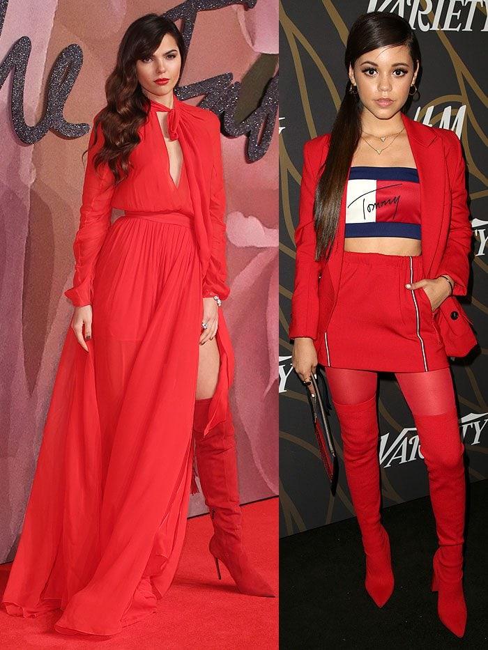 Doina Ciobanu and Jenna Ortega in red thigh-high boots.