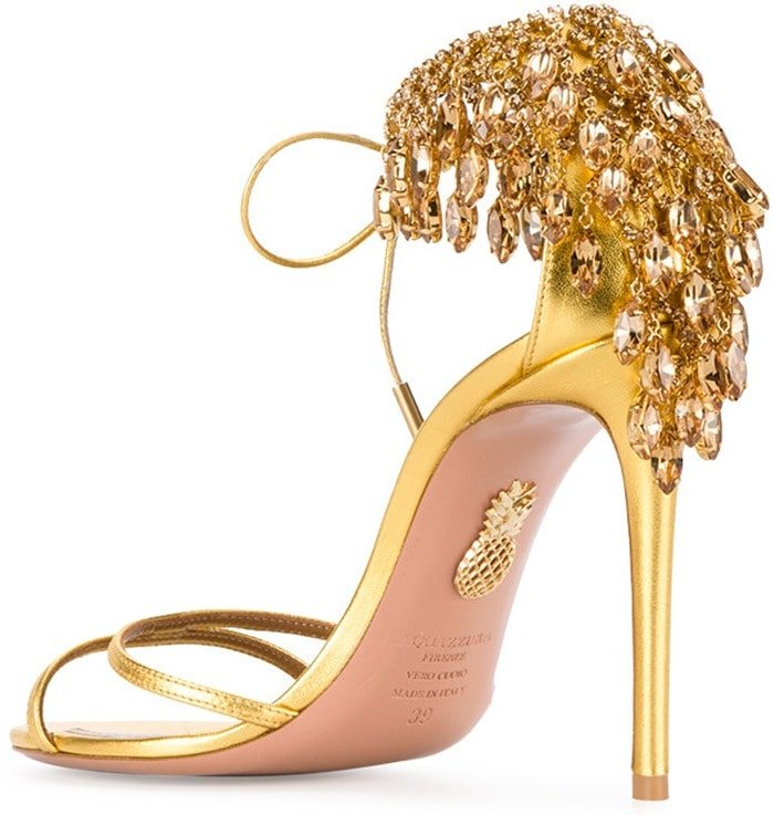 'Eden' Crystal-Embellished Ankle-Tie Sandal in Gold