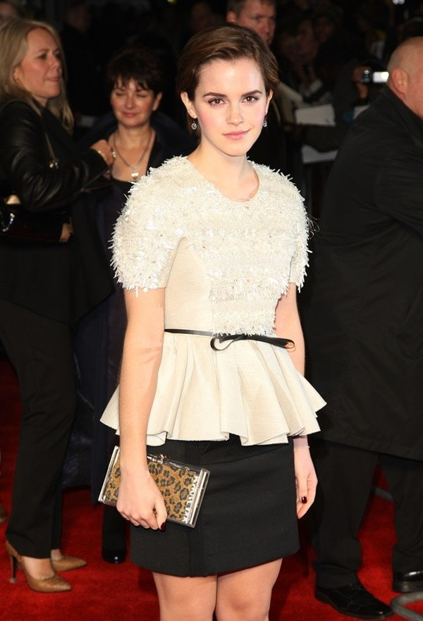 Emma Watson wore a white, pleated, embellished blouse from the Jason Wu Spring/Summer 2012 collection