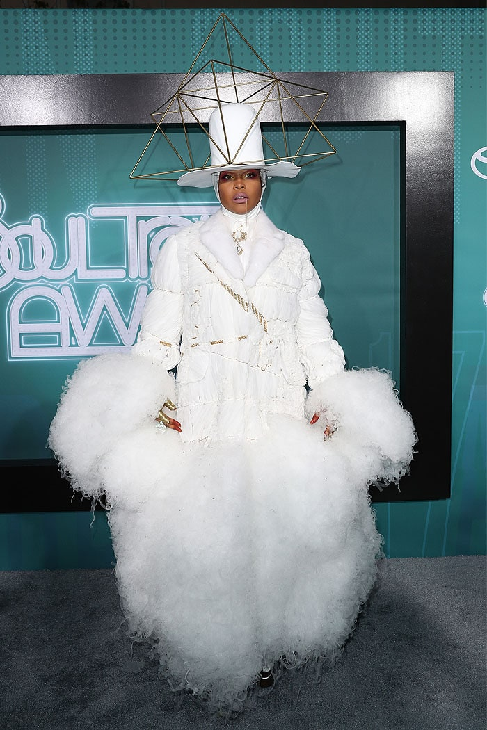 Erykah Badu donned a tissue-like white blazer that had gold rope ties and poofy white tulle clouds erupting from the wrists and hemline