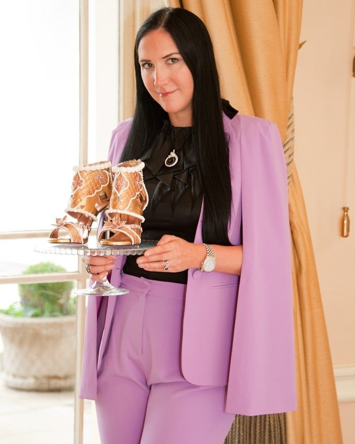 Debbie Wingham unveiled the shoes at a glitzy event on October 27, 2017 in Stoke Park, Buckinghamshire, which included an edible fashion banquet also created by Debbie