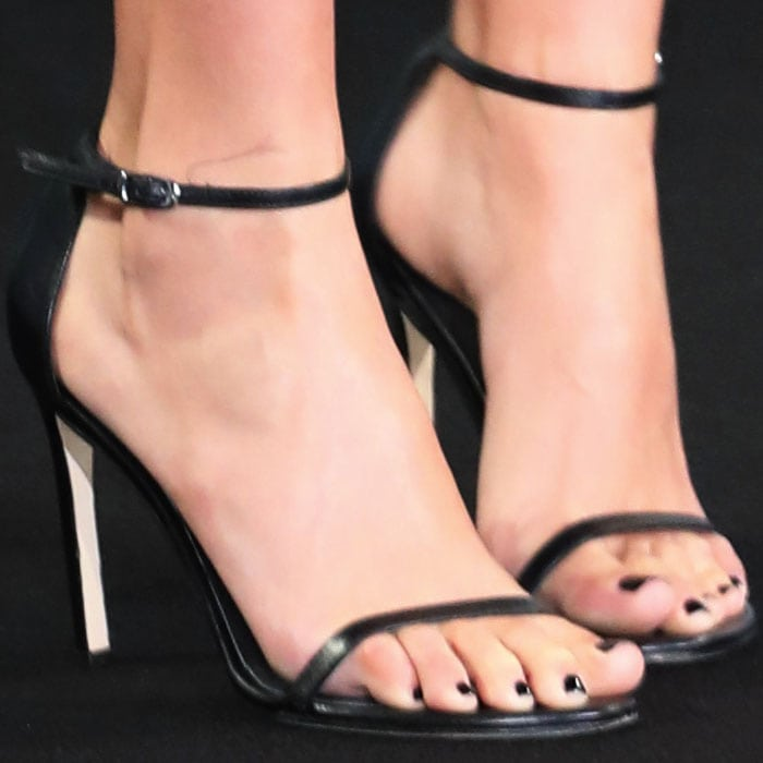 Gal Gadot's sexy feet in Stuart Weitzman Nudist sandals