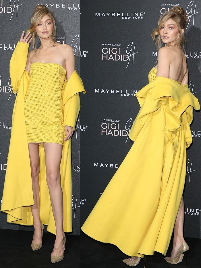 Gigi Hadid's bright and sunny color scheme ran all the way to her pastel yellow nails and the complementing glittery gold pumps on her feet.