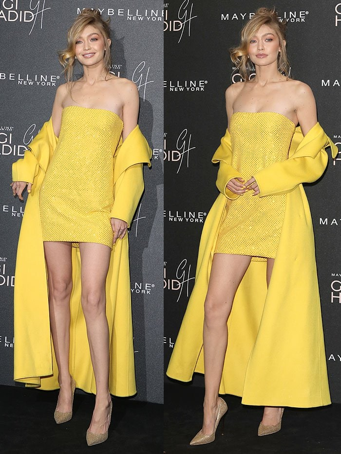 Gigi Hadid looked like a ray of sunshine in a yellow Ralph Lauren sequined strapless minidress and matching coat