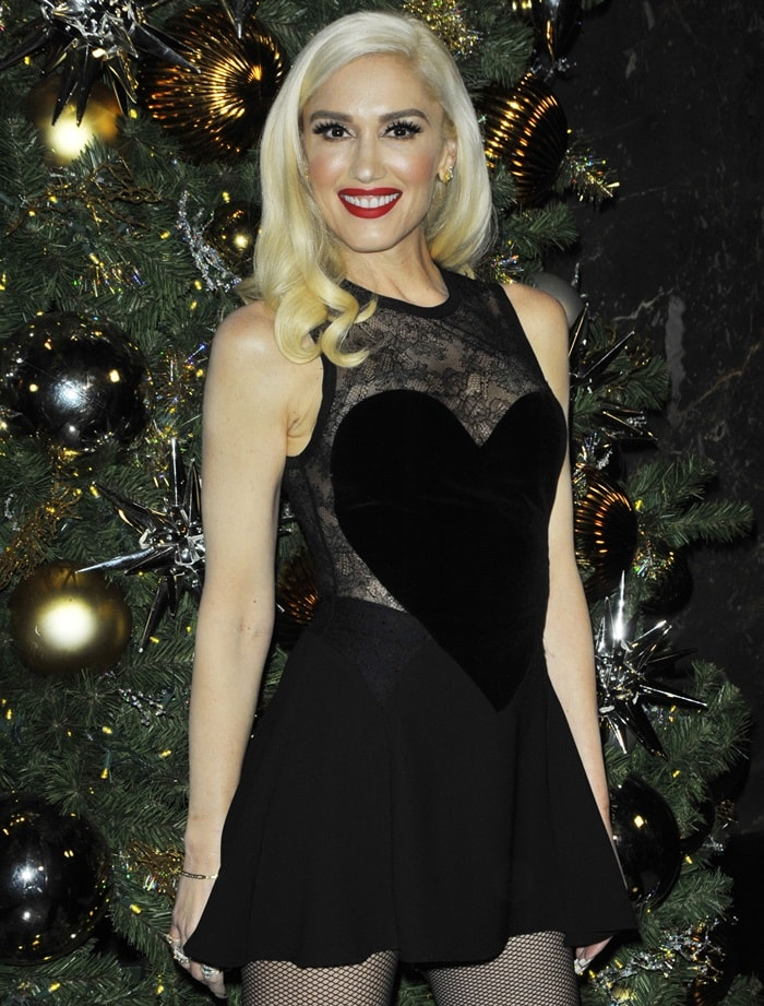 Gwen Stefani dazzled in a heart motif lace insert dress from the Elie Saab Pre-Fall 2017 Collection