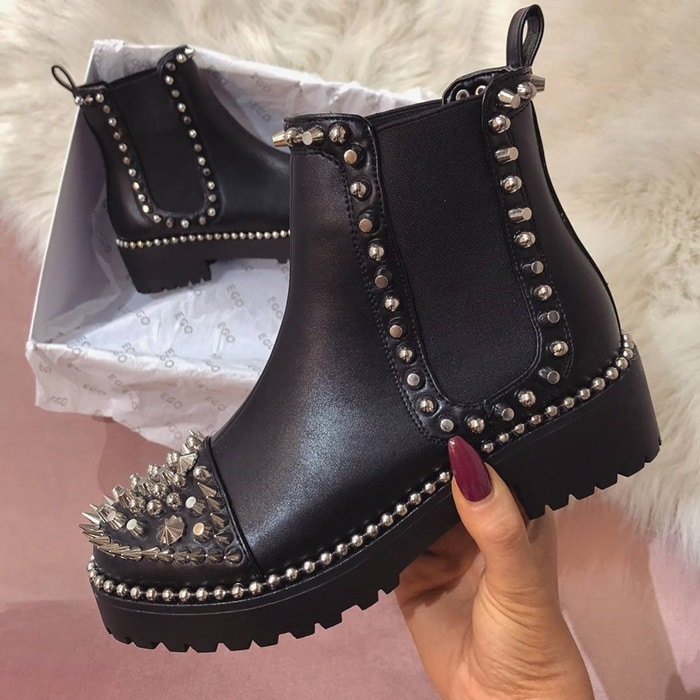 Jack Studded Detail Chelsea Boot In Black Faux Leather