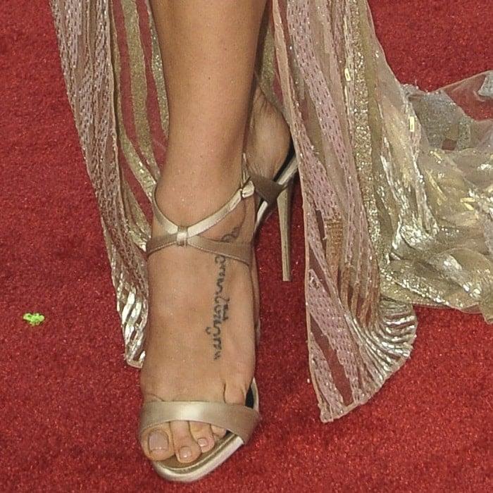 Jenna Dewan-Tatum showing off her feet in Giuseppe Zanotti champagne satin 'Dionne' sandals