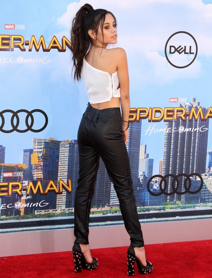 """Jenna Ortega in stretched faux-leather pants at the """"Spider-Man: Homecoming"""" premiere"""