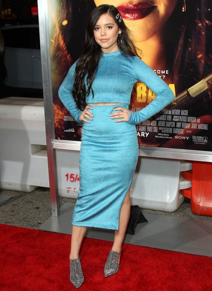 Actress Jenna Ortega with long hair attends the premiere of Columbia Pictures' 'Miss Bala'