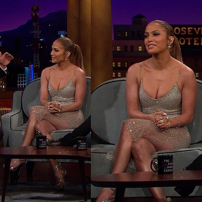 "Jennifer Lopez wearing a $110 Meshki 'Aviana' jeweled midi dress and silver strappy sandals on her guest appearance on The Late Late Show with James Corden"" aired on May 5, 2017."