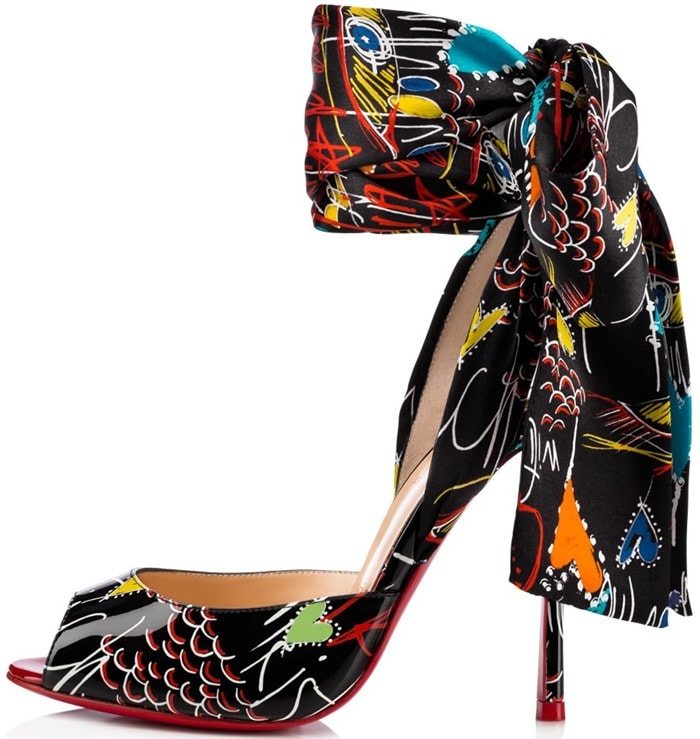 Christian Louboutin's Jersey Vamp Graffiti-Printed Scarf Sandals